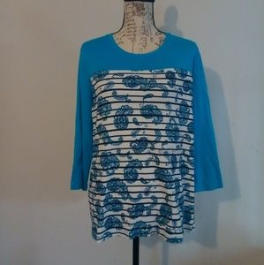 Vtg Kim Rogers 3/4 Sleeve Blue White Paisley Top